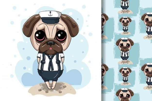 Cão pug bonito dos desenhos animados com costume marinho Vetor Premium