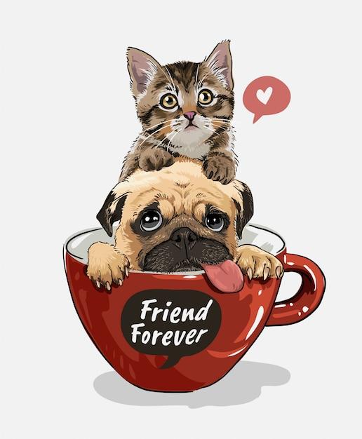 Cão pug e gatinho na ilustração de copo de café vermelho Vetor Premium