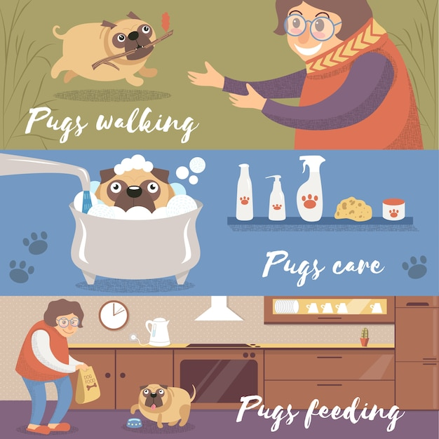 Cão pug engraçado bonito em diferentes situações, pugs andando, cuidando e alimentando ilustrações coloridas Vetor Premium