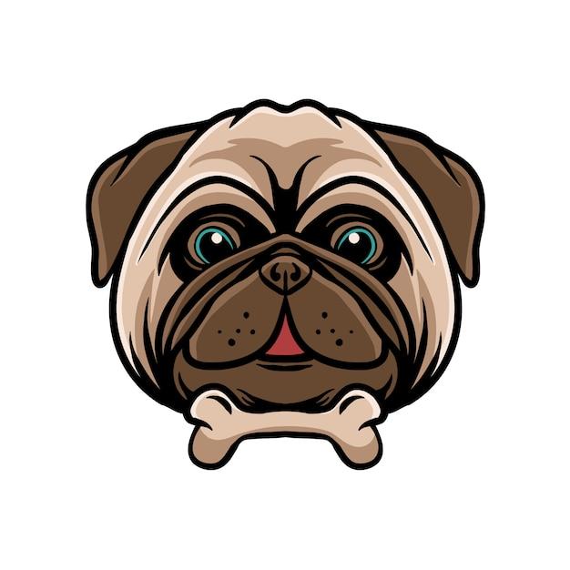 Cão pug engraçado com osso Vetor Premium