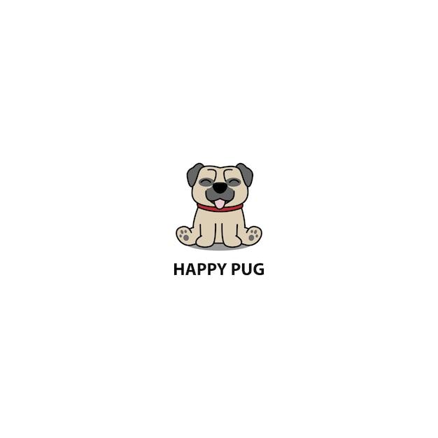 Cão pug feliz sentado ícone dos desenhos animados Vetor Premium