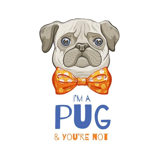 Cão pug fofo. esboço de doodle para impressão de t-shirt, cartaz, design de carrinho. Vetor Premium