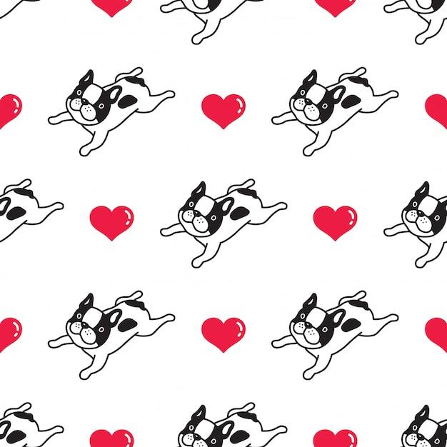 Cão sem costura padrão buldogue francês coração Vetor Premium