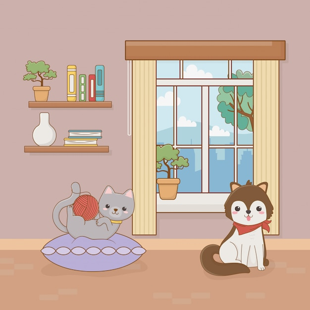 Cãozinho e gato mascotes no quarto da casa Vetor Premium