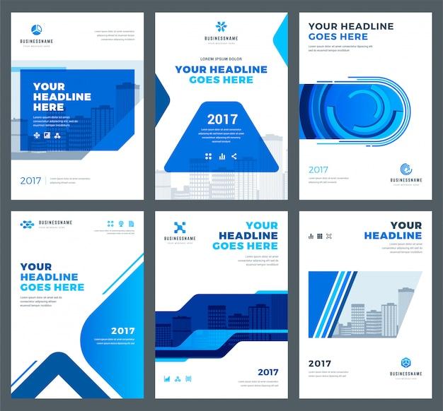 Capa azul para o conjunto de modelos de design de relatórios anuais Vetor Premium