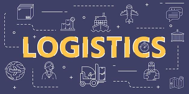 Capa de bandeira de ícone de contorno logístico para logística e transporte em todo o mundo Vetor Premium