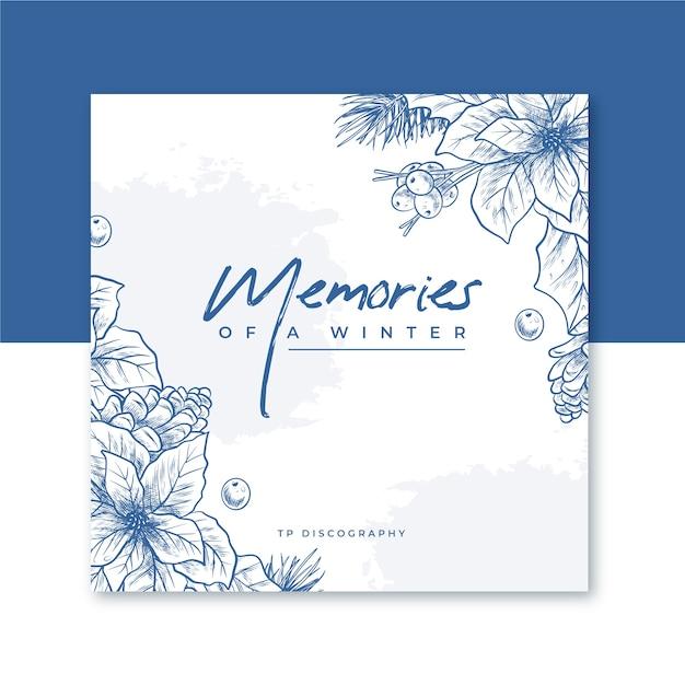 Capa de cd de inverno com flores Vetor grátis