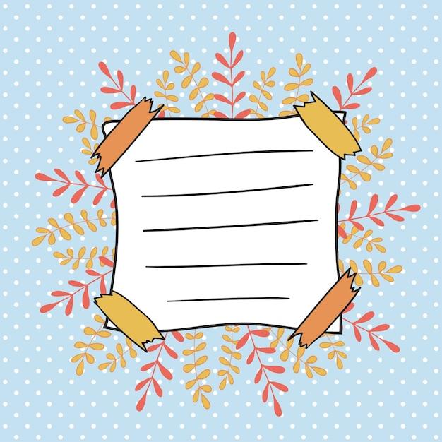 Capa de doodle de outono para caderno infantil. folhas lindas sobre o fundo das bolinhas. de volta à decoração da escola Vetor Premium