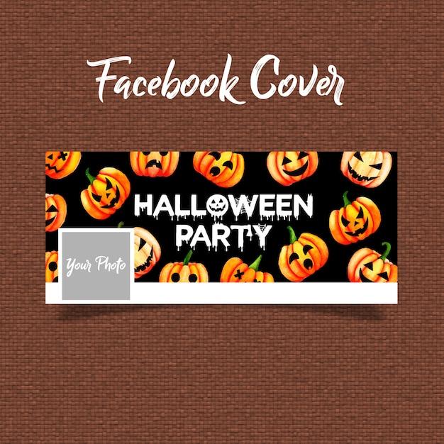Capa de facebook de aquarela dia das bruxas Vetor Premium