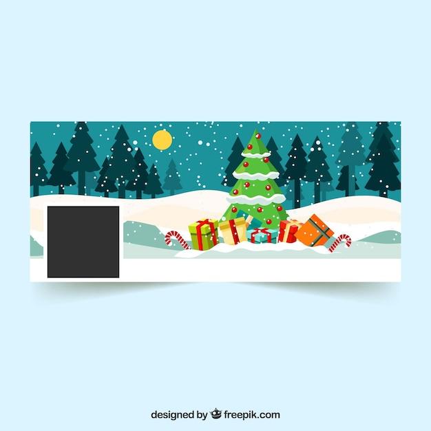 Capa De Facebook De árvore De Natal Vetor Grátis
