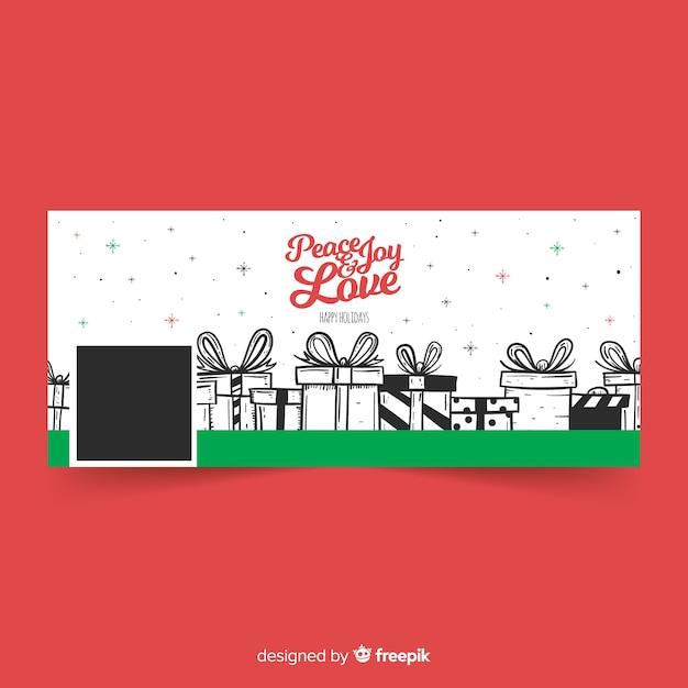 Capa de facebook de design de natal com presentes Vetor grátis
