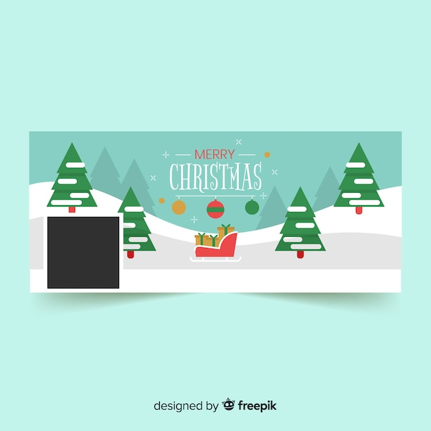 Capa de facebook de design de natal Vetor grátis