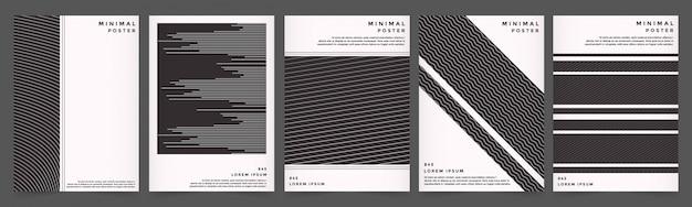 Capa de linha geométrica abstrata definida com cor preto estilo Vetor Premium