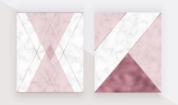 Capa de mármore desenho geométrico com textura de folha de ouro rosa triangular, rosa, linhas poligonais. Vetor Premium