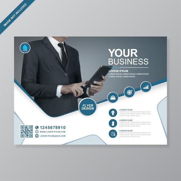 Capa de negócios corporativos a4 e modelo de design de folheto de ícones plana Vetor Premium
