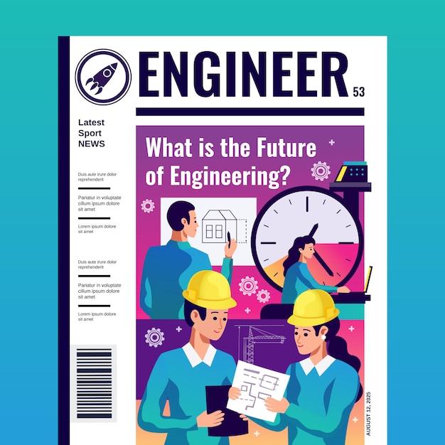 Capa de revista de engenheiro Vetor grátis