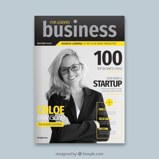 Capa de revista de negócios com foto Vetor grátis