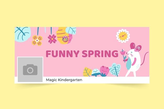 Capa do facebook de primavera floral infantil Vetor grátis