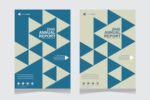 Capa do relatório anual com triângulos azuis Vetor grátis