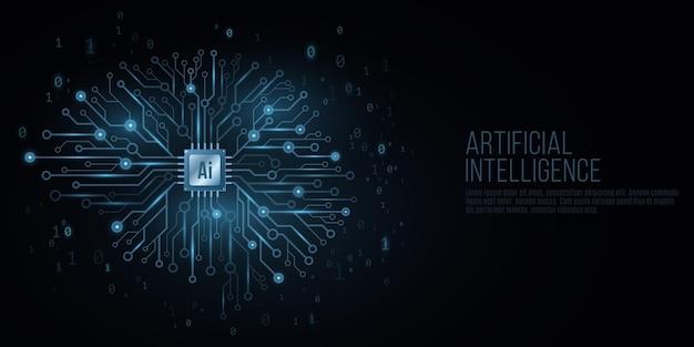 Capa futurista para inteligência artificial. Vetor Premium