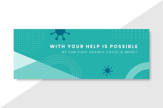 Capa geométrica minimalista do coronavírus no facebook Vetor grátis