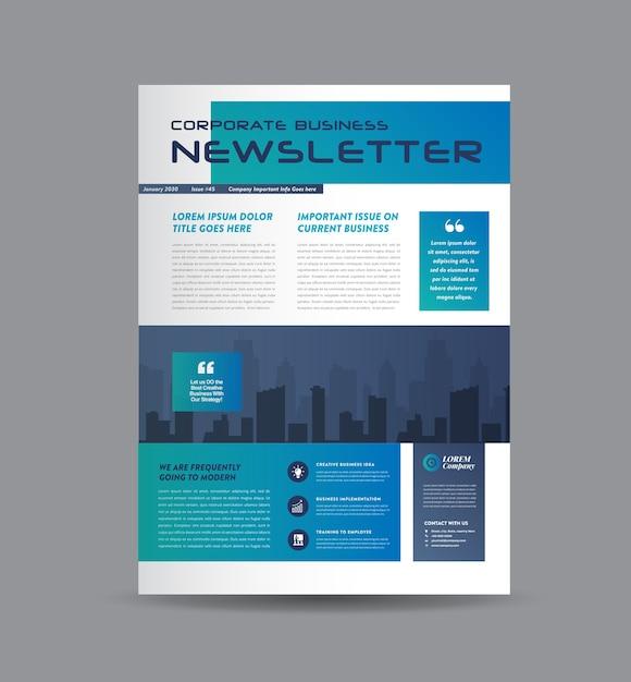 Capa, jornal ou relatório mensal ou anual do boletim de negócios Vetor Premium