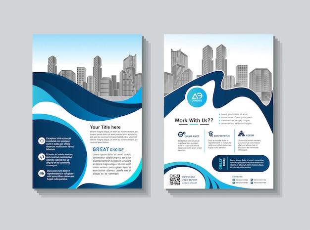 Capa livro folheto layout flyer cartaz relatório anual Vetor Premium