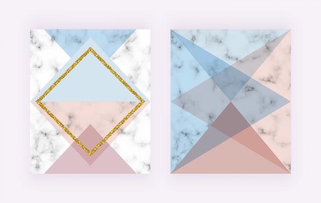 Capa moderna com desenho geométrico, linhas douradas, formas triangulares rosa e azuis. Vetor Premium