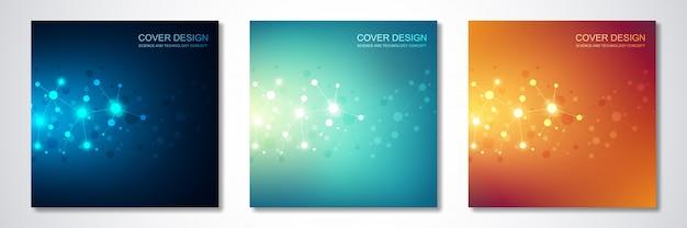 Capa ou brochura, com moléculas e rede neural Vetor Premium