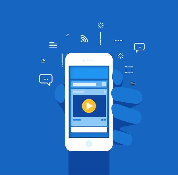 Capa popup de layout de mídia social com tom de cor azul Vetor Premium