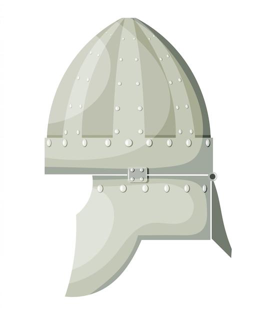 Capacete antigo do metal dos desenhos animados conservados em estoque do vetor com os rebites no fundo branco. armas de guerreiro de elemento. stock vector Vetor Premium