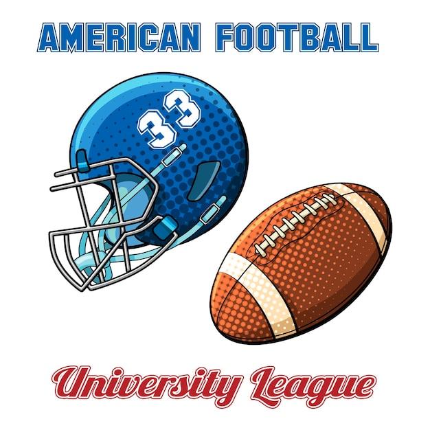 Capacete azul com o número e a bola do futebol americano em um fundo branco. ilustração vetorial Vetor grátis