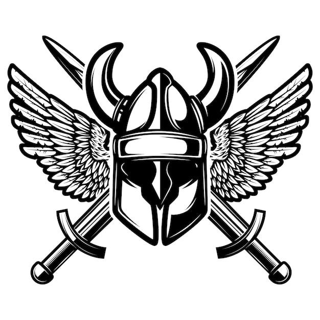 Capacete com espadas cruzadas e asas em fundo branco. ilustração. Vetor Premium