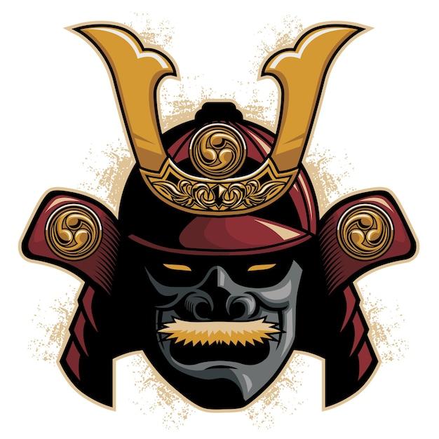 Capacete De Armadura De Samurai Vetor Premium