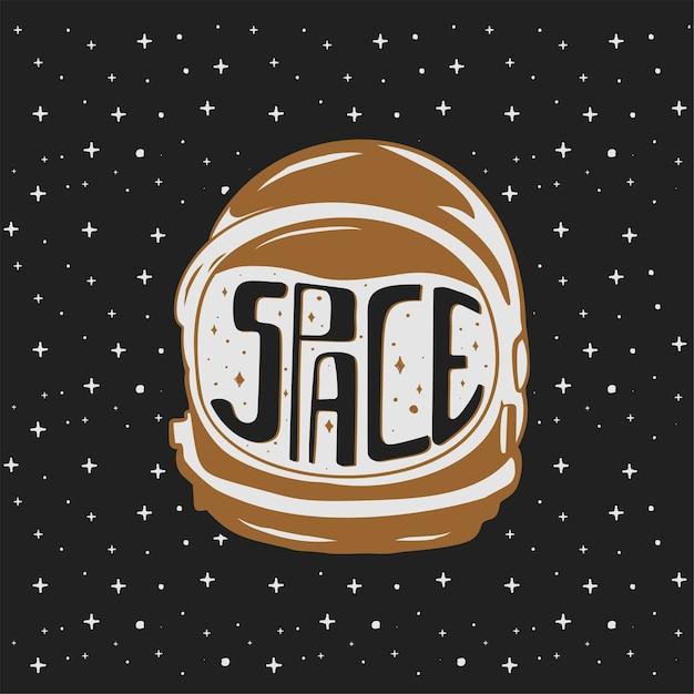 Capacete de astronauta desenhado à mão vintage com textos personalizados - espaço. Vetor Premium