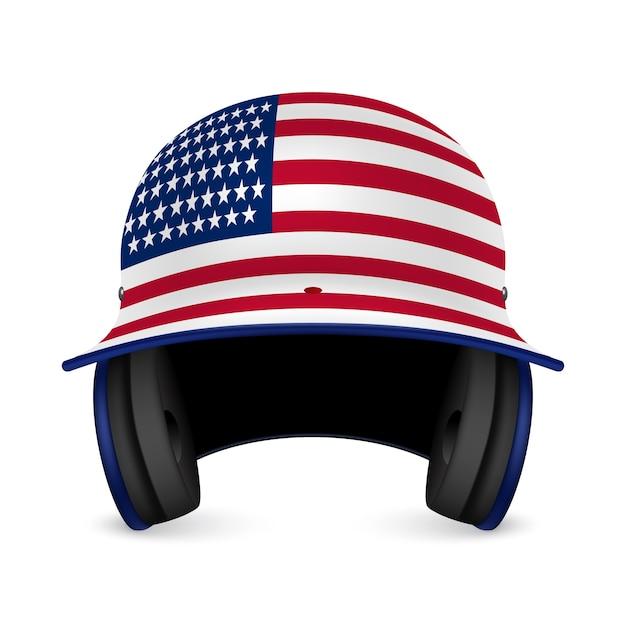 Capacete de beisebol patriótico - bandeira dos eua. Vetor Premium