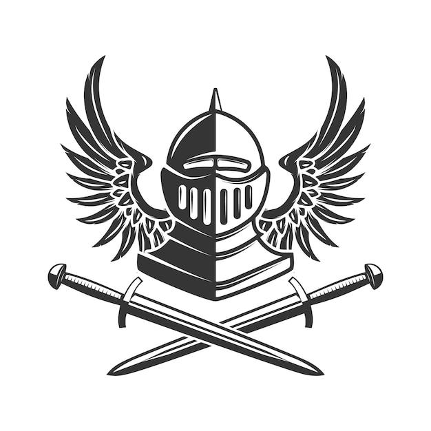 Capacete de cavaleiro alado com espadas cruzadas. elemento para cartaz, emblema, sinal, banner. ilustração Vetor Premium