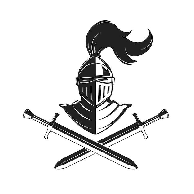 Capacete de cavaleiro com duas espadas, isolado no fundo branco. Vetor Premium