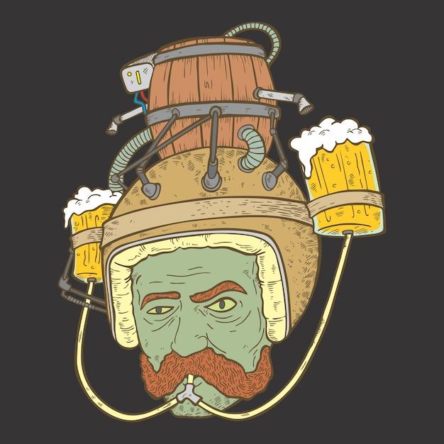 Capacete de cerveja Vetor Premium