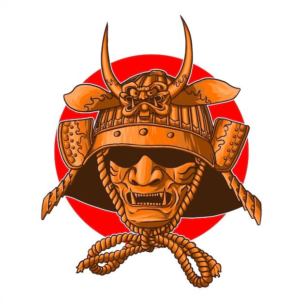 Capacete de guerra samurai Vetor Premium
