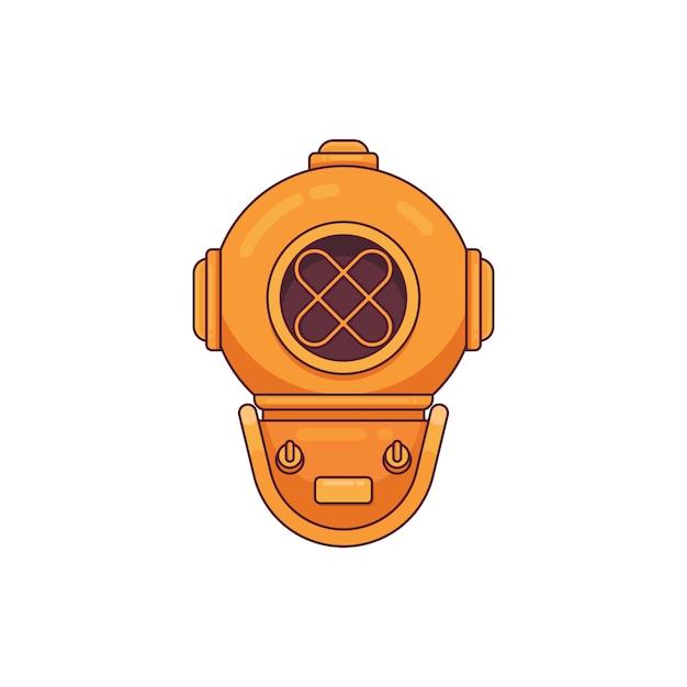 Capacete de mergulho vintage linha plana logotipo estilo minimalista Vetor Premium
