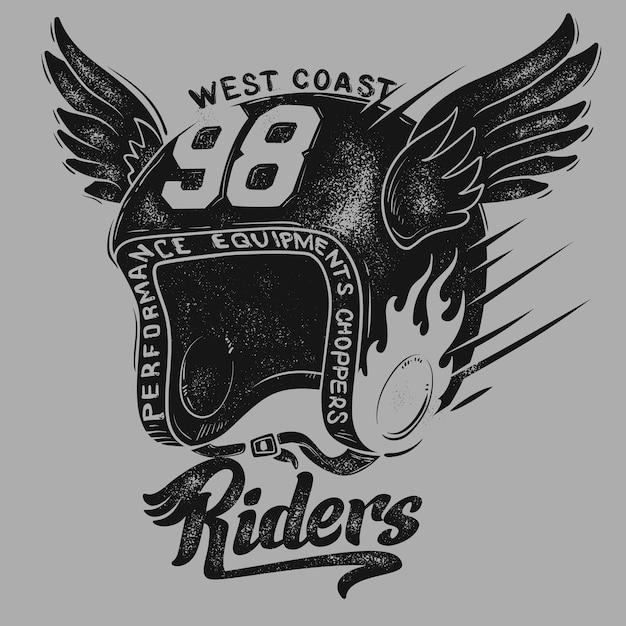 Capacete de motociclista, estampa de camiseta. Vetor Premium
