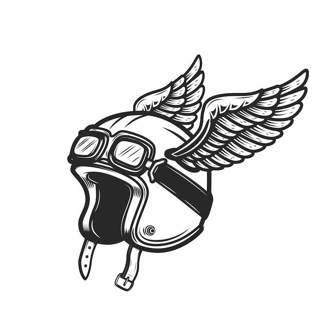 Capacete de piloto alado em fundo branco. elemento para logotipo, etiqueta, emblema, sinal. imagem Vetor Premium