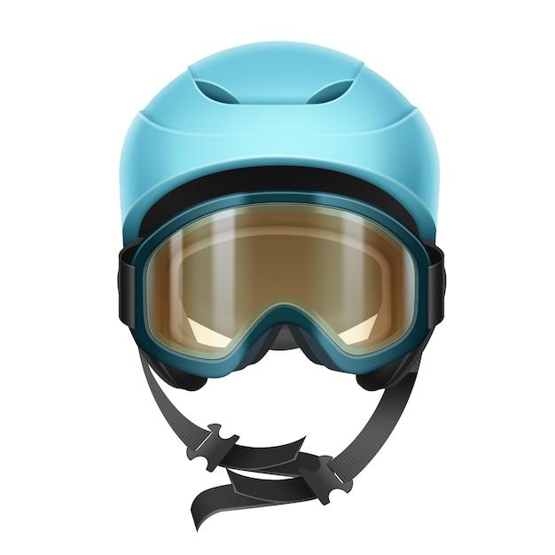 Capacete protetor de vetor azul com óculos laranja para esqui, snowboard e outros esportes de inverno vista frontal isolada no fundo branco Vetor grátis