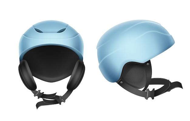 Capacete protetor de vetor azul para esqui, snowboard e outros esportes de inverno frente, vista lateral isolada no fundo branco Vetor grátis