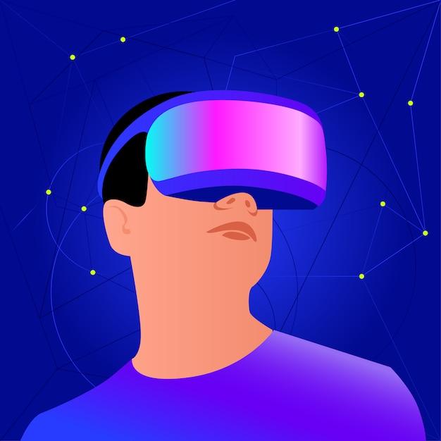 Capacete vr para simulação espacial e jogos digitais Vetor Premium