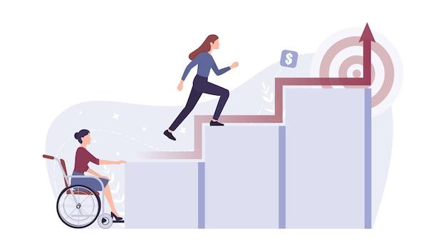 Capacidades de recrutamento. jovem empresária com deficiência não consegue subir na carreira. discriminação e preconceito social contra pessoas com deficiência. Vetor Premium