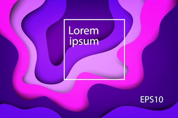 Capas abstratas modernas, onda colorida e formas fluidas fundo violeta Vetor Premium