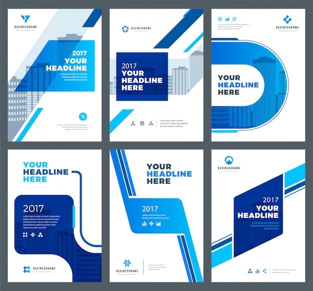 Capas azuis para conjunto de modelos de design de relatórios anuais Vetor Premium