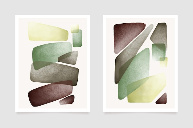 Capas com formas abstratas de aquarela Vetor grátis